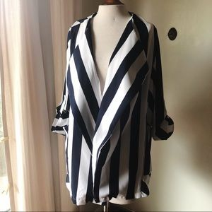 Blue and White Vertical Striped Open Blazer